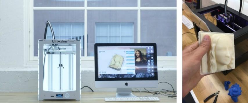 Diseño de mona Lisa preparado para imprimir el arte en impresora 3D.